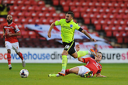 Jake Forster-Caskey of Brighton & Hove Albion is challenged by Sam Mantom of Walsall - Mandatory byline: Dougie Allward/JMP - 07966386802 - 25/08/2015 - FOOTBALL - Bescot Stadium -Walsall,England - Walsall v Brighton - Capital One Cup - Second Round