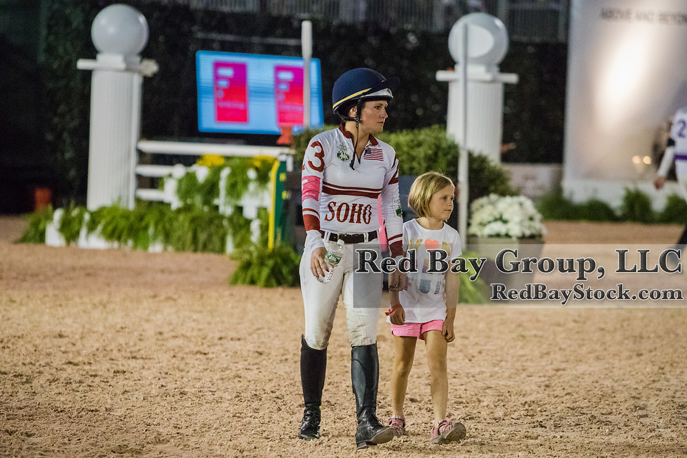 Hannah Sue Burnett walking the course with her niece ahead of inaugural U.S. Open $50,000 Arena Eventing competition, presented by The Fite Group Luxury Homes, at the Rolex Central Park Horse Show, where Land Rover was the official vehicle sponsor on September 23, 2017 in New York City.
