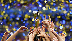USA team celebrate winning the FIFA Women's World Cup trophy after the final whistle