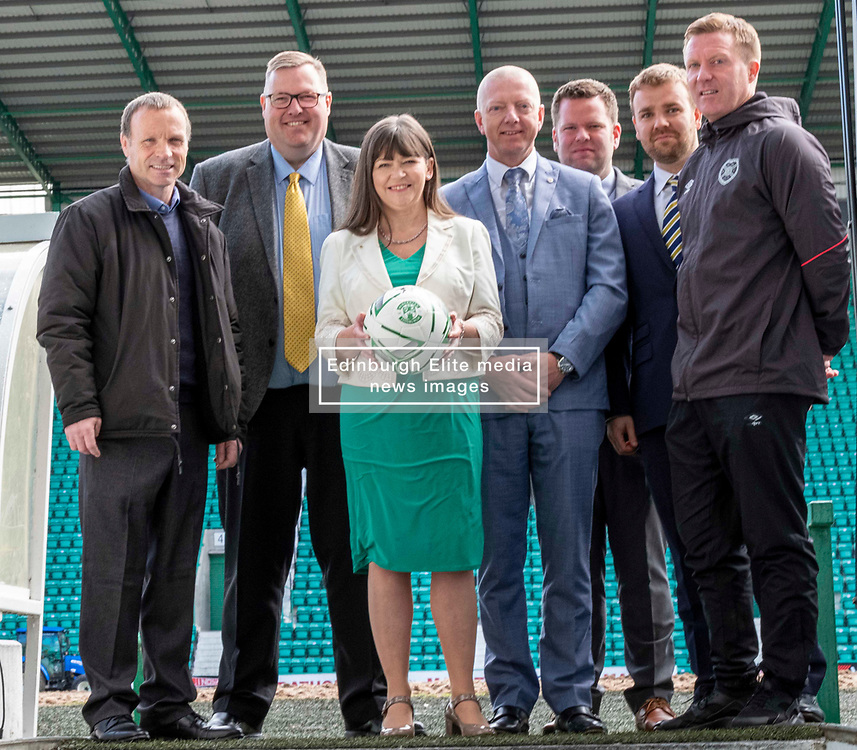 Pictured:  Mickey Weire, Councillor Stuarey Currie, Clare Haughey, George Dodds, Directory of Equity at NHS Scotland Health, David McCardle SFA, Calum Beattie, SPFL Trust and Gary Locke<br /><br />Mental Health Minister Clare Haughey was joined by Gary Locke ex Hearts and Mickey Weir ex Hibs footballer on the visit to Hibernian FC as all 42 clubs commit to rolling out the training to all players and staff. <br />Ger Harley | EEm 28 May 2019