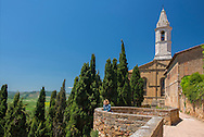 Europe, Italy, Tuscany, Toscana,Pienza, woman looking out from Pienza over tuscan landscape (MR)