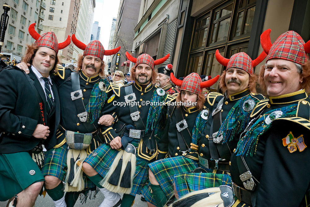 The Tartan Day Parade celebrates Scottish heritage, Sixth Avenue in Manhattan, New York City.