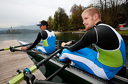 Gasper Fistravec and Jan Spik during media day of Slovenian National rowing team before World Championships in New Zealand 2010 on October 14, 2010 in Mala Zaka, Bled, Slovenia. (Photo by Vid Ponikvar / Sportida)