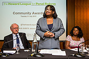 Diane Abbott MP, speaking at the Howard League for Penal reform's Community Awards 2015 The Kings Fund, London, UK. All use must be credited © prisonimage.org