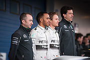 Circuito de Jerez, Spain : Formula One Pre-season Testing 2014. Lewis Hamilton and Nico Rosberg pose with Toto Wolff at the presentation of the new Mercedes F1 car.