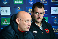 Bernard LAPORTE / Carl HAYMAN - 01.05.2015 - Conference de presse Toulon avant la finale - European Rugby Champions Cup -Twickenham -Londres<br /> Photo : David Winter / Icon Sport