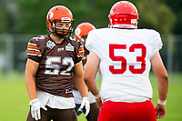 KELOWNA, BC - AUGUST 17:  Jack Proskow #52 of Okanagan Sun lines up against Conary Neligan #53 of Westshore Rebels  at the Apple Bowl on August 17, 2019 in Kelowna, Canada. (Photo by Marissa Baecker/Shoot the Breeze)