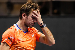 September 22, 2018 - Saint Petersburg, Russia - Stan Wawrinka of Switzerland reacts during his St. Petersburg Open 2018 semi final tennis match against Martin Klizan of Slovakia on September 22, 2018 in Saint Petersburg, Russia. (Credit Image: © Mike Kireev/NurPhoto/ZUMA Press)