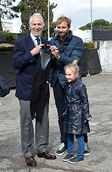 March 12, 2018 - Rome, Italy - The president of the Italian Olympic Committee (CONI), Giovanni Malago poses with the swimmer Massimiliano Rosolino during the ceremony Walk of Fame in Rome, Italy, on 12 March 2018. The Walk of Fame is enriched with 5 more samples. Along the Via Olimpiadi, which leads straight to the Olympic stadium in Rome, new plates have been added dedicated to five blue champions no longer in business: the historic Milan captain and national defender, soccer player Paolo Maldini, the swimmer Massimiliano Rosolino, the middle distance runner Luigi Beccali, the cyclist Ercole Baldini and the volleyball player Samuele Papi. (Credit Image: © Silvia Lore/NurPhoto via ZUMA Press)