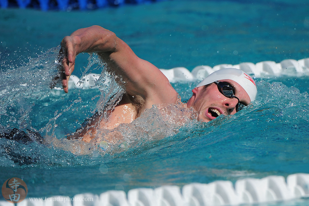 May 31, 2012; Santa Clara, CA, USA; Ryan Cochrane (CAN) competes during the men's 800-meter freestyle in the Santa Clara international grand prix at the George F. Haines International Swim Center.