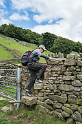 Surmounting a stile. We followed the River Swale via meadows, woods, and villages, on our walk from Keld to Reeth in Yorkshire Dales National Park, England, United Kingdom, Europe. England Coast to Coast hike day 8 of 14. [This image, commissioned by Wilderness Travel, is not available to any other agency providing group travel in the UK, but may otherwise be licensable from Tom Dempsey – please inquire at PhotoSeek.com.]