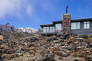 Private ski lodges on Mt Ruapehu in New Zealand. One of the most active vocanic regions in the world.