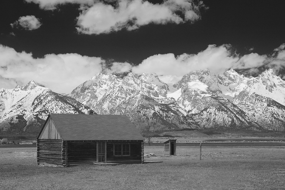 Mormon Row Cabin - Grand Tetons, WY - Infrared Black & White