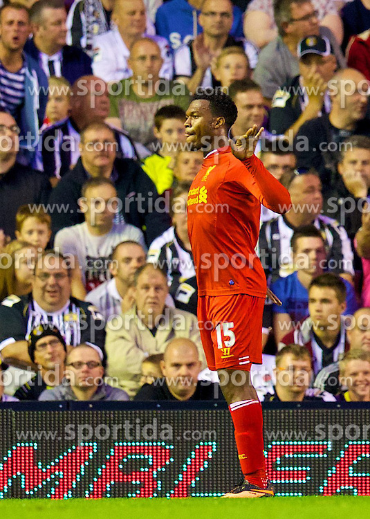 27.08.2013, Anfield, Liverpool, ENG, League Cup, FC Liverpool vs Notts County FC, 2. Runde, im Bild Liverpool's Daniel Sturridge celebrates scoring the second goal against Notts County during the English League Cup 2nd round match between Liverpool FC and Notts County FC, at Anfield, Liverpool, Great Britain on 2013/08/27. EXPA Pictures &copy; 2013, PhotoCredit: EXPA/ Propagandaphoto/ David Rawcliffe<br /> <br /> ***** ATTENTION - OUT OF ENG, GBR, UK *****