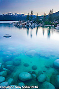 """Sand Harbor Sunrise 2"" - The clear blue water of Lake Tahoe is echoed by the clear blue skies over head."