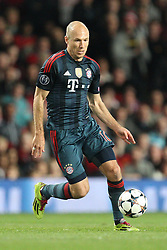 01.04.2014, Old Trafford, Manchester, ENG, UEFA CL, Manchester United vs FC Bayern Muenchen, Viertelfinale, Hinspiel, im Bild Arjen Robben #10 (FC Bayern Muenchen) // during the UEFA Champions League Round of 8, 1nd Leg match between Manchester United and FC Bayern Muenchen at the Old Trafford in Manchester, Great Britain on 2014/04/02. EXPA Pictures © 2014, PhotoCredit: EXPA/ Eibner-Pressefoto/ Kolbert<br /> <br /> *****ATTENTION - OUT of GER*****