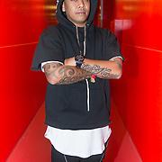 NLD/Amsterdam/20140201 - DJ Chuckie poseert tijdens het 10 jaar Dirty Dutch feest in de Heineken Music Hall,
