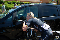 Annette Edmondson (AUS) of Wiggle High5 Cycling Team tries to get rid of the road grime after Stage 1 of the Amgen Tour of California - a 124 km road race, starting and finishing in Elk Grove on May 17, 2018, in California, United States. (Photo by Balint Hamvas/Velofocus.com)