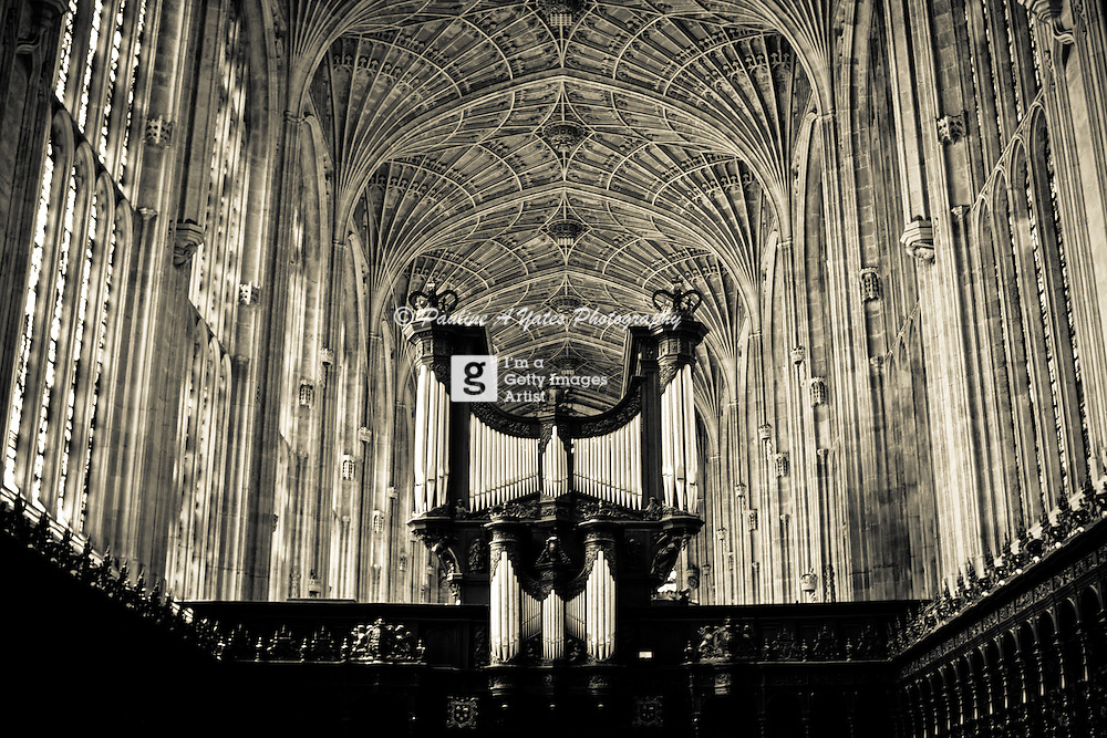 The organ in Kings College Chapel in Cambridge. This is the venue for &quot;Carols at Kings&quot; every Christmas in the UK.<br />
