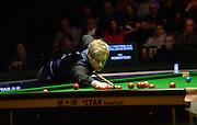 20.02.2016. Cardiff Arena, Cardiff, Wales. Bet Victor Welsh Open Snooker. Mark Allen versus Neil Robertson. Neil Robertson on a break.
