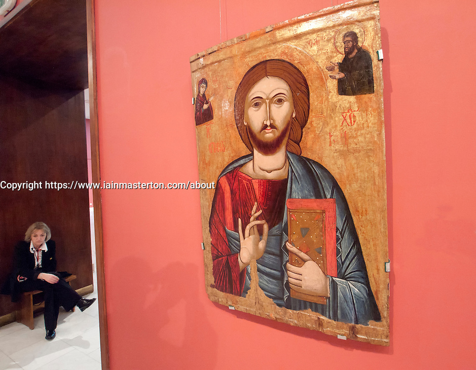 Religious painting at Museum of Art in Bucharest Romania