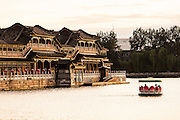 View at sunset of the decorative colonnade in Beihai Park in Beijing, China