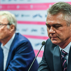Stade Francais Paris owner Hans Peter Wild and Heyneke Meyer new head coach of Stade Francais during the press conference of Stade Francais Paris rugby at Stade Jean Bouin on April 16, 2018 in Paris, France. (Photo by Anthony Dibon/Icon Sport)