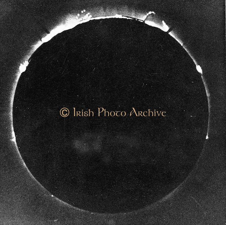 Warren de la Rue's photograph of total solar eclipse at Rivabellosa, Spain 18 July 1860. First solar eclipse to be photographed.