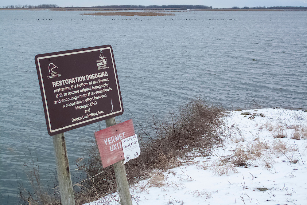 Ducks Unlimited sign, Michigan DNR, Pointe Mouillee, Michigan
