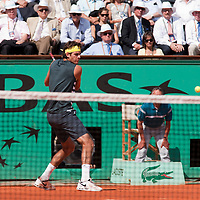 1 June 2009: Juan Martin Del Potro of Argentina eyes the ball as he prepares a backhand during the Men's Single Fourth Round match on day nine of the French Open at Roland Garros in Paris, France.