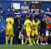Michael Mancienne (Nottingham Forest defender) getting subbed off early on his return to QPR during the Sky Bet Championship match between Queens Park Rangers and Nottingham Forest at the Loftus Road Stadium, London, England on 12 September 2015. Photo by Matthew Redman.