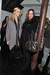 Left to right, VANESSA WURM and LAUREN MEZZINA at a private view of art works by Annie Morris entitled 'There is A Land Called Loss' held at Pertwee Anderson & Gold Gallery, 15 Bateman Street, London W1 on 2nd February 2012.