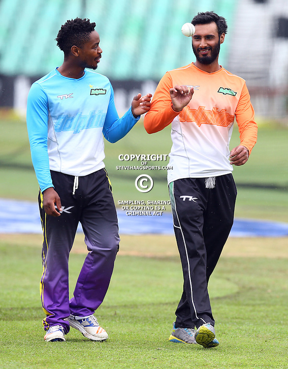 Khaya Zondo (Captain) of Hollywoodbets Dolphins with Imraan Khan Hollywoodbets Dolphins (assistant Coach) during the Hollywoodbets Dolphins Momentum One Day Cup media open day and interview opportunity, at the Annex, Sahara Stadium Kingsmead, Durban, South Africa. 15 February 2017 - (Photo by Steve Haag)