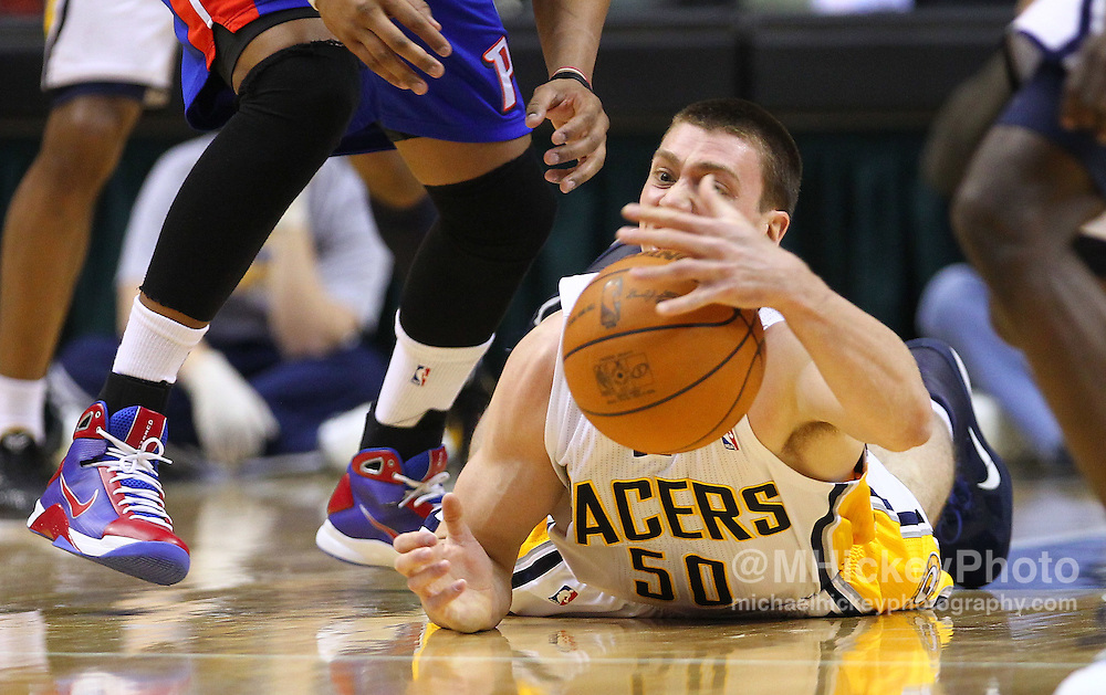 Feb. 23, 2011; Indianapolis, IN, USA; Indiana Pacers forward Tyler Hansbrough (50) scrambles for a loose ball against the Detroit Pistons at Conseco Fieldhouse. Mandatory credit: Michael Hickey-US PRESSWIRE