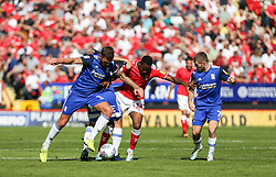 Jonathan Leko of Charlton Athletic is crowded out by Birmingham defenders - Mandatory by-line: Arron Gent/JMP - 14/09/2019 - FOOTBALL - The Valley - Charlton, London, England - Charlton Athletic v Birmingham City - Sky Bet Championship