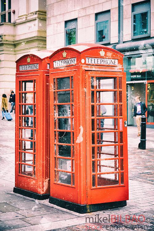 Traditional UK red telephone box. London, England, United kingdom, Europe.