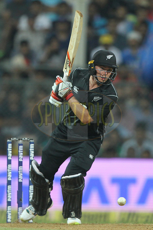 Tom Latham of New Zealand bats during the 1st One Day International match between India and New Zealand held at the Wankhede Stadium in Mumbai on the 22nd October 2017<br /> <br /> Photo by Deepak Malik / BCCI / SPORTZPICS