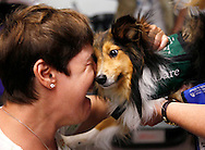 Multiple sclerosis patient Sue Sutton (L) embraces Dare, a two-legged Sheltie dog used in therapy for disabled people  in Denver, Colorado July 15, 2009. Dare was born with all four legs but his back left leg was bitten off and his left front leg was caught in a cage and broken in several places. Now Dare visits amputee clinics, special needs schools and MS patients to inspire them and help them forget their problems with owner Tami Skinner. Dare is able to walk and run on his two legs just like any dog. REUTERS/Rick Wilking (UNITED STATES SOCIETY HEALTH ANIMALS)