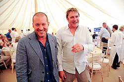 Left to right, JONATHAN IVE and SIMON LE BON at a luncheon hosted by Cartier for their sponsorship of the Style et Luxe part of the Goodwood Festival of Speed at Goodwood House, West Sussex on 4th July 2010.
