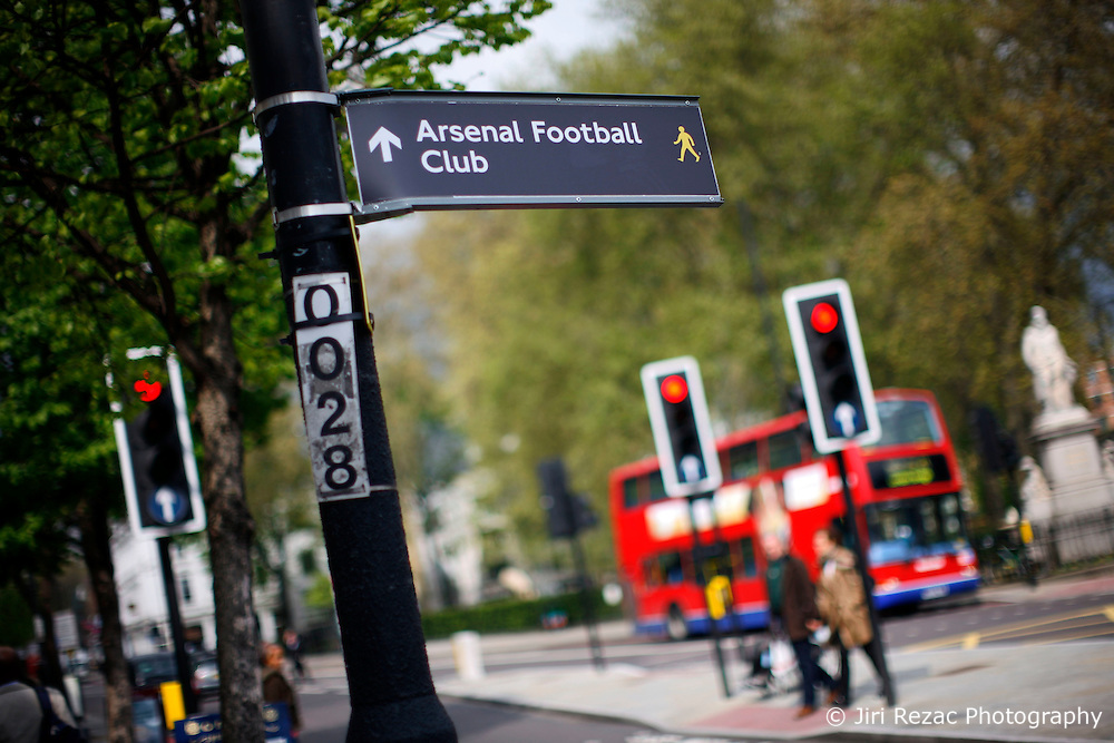 UK ENGLAND LONDON 1MAY12 - Arsenal Football Club sign in Islington, North London......jre/Photo by Jiri Rezac....© Jiri Rezac 2012