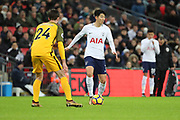 Son Heung-Min of Tottenham Hotspur (7) dribbling with Dele Alli of Tottenham Hotspur (20)  about to come on as sub during the Premier League match between Tottenham Hotspur and Brighton and Hove Albion at Wembley Stadium, London, England on 13 December 2017. Photo by Matthew Redman.