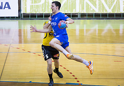 Niko Medved of Gorenje vs Nemanja Zelenovic of Celje PL during handball match between RK Gorenje Velenje and RK Celje Pivovarna Lasko in Final match of 1st NLB League - Slovenian Championship 2013/14 on May 23, 2014 in Rdeca dvorana, Velenje, Slovenia. Photo by Vid Ponikvar / Sportida