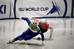 February 8, 2019 - Torino, Italia - Foto LaPresse/Nicolò Campo .8/02/2019 Torino (Italia) .Sport.ISU World Cup Short Track Torino - 500 meter Men Preliminaries.Nella foto: Davide Viscardi, Yauheni Ryzhou..Photo LaPresse/Nicolò Campo .February 8, 2019 Turin (Italy) .Sport.ISU World Cup Short Track Turin - 500 meter Men Preliminaries.In the picture: Davide Viscardi, Yauheni Ryzhou (Credit Image: © Nicolò Campo/Lapresse via ZUMA Press)