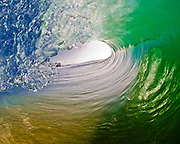 Beautiful green pitching wave, Hawaii