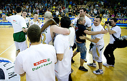 Union Olimpija celebrate at third finals basketball match of Slovenian Men UPC League between KK Union Olimpija and KK Helios Domzale, on June 2, 2009, in Arena Tivoli, Ljubljana, Slovenia. Union Olimpija won 69:58 and became Slovenian National Champion for the season 2008/2009. (Photo by Vid Ponikvar / Sportida)