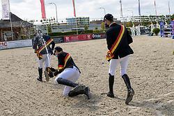 Podium juniors, Van Beek Roy, Guisson Tristan, Philippaerts Anthony<br /> Belgisch Kampioenschap Jeugd Azelhof - Lier 2020<br /> © Hippo Foto - Dirk Caremans<br /> 02/08/2020