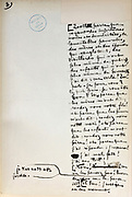 Handwritten notes for a speech supporting a bill offering amnesty to the communards (participants in the Paris Commune), 1876, page 8, by Victor Hugo, 1802-85, French writer, housed in the Archives du Senat, in the Senate in the Palais du Luxembourg, 6th arrondissement, Paris, France. Hugo was a senator for Seine 1876-85, and gave this speech on 22nd May 1876. Although this bill was not passed, a general amnesty was granted in 1880. Picture by Manuel Cohen