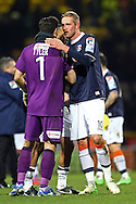 Picture by Paul Chesterton/Focus Images Ltd +44 7904 640267.26/01/2013.Mark Tyler (Luton Town) and Scott Rendell (Luton Town) celebrate victory at the end of the The FA Cup 4th Round match at Carrow Road, Norwich.