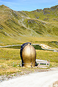 Yodel Hiking Trail first station, giant cow bell.  Konigsleiten mountain top. Zillertal, Tyrol, Austria