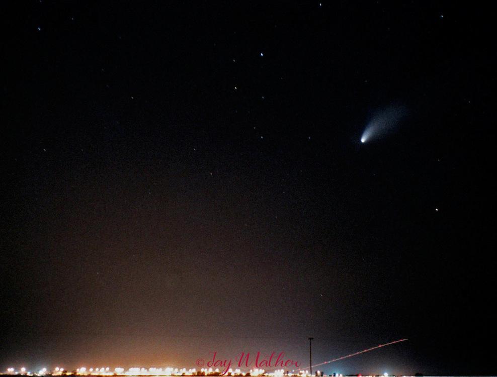 Comet Hale Bopp over Sacramento Metropolitan airport.